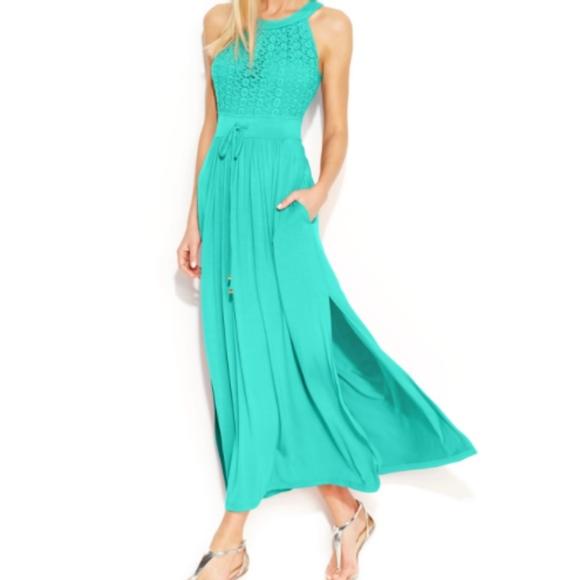 48b6ed94a1 Calvin Klein Dresses & Skirts - Calvin Klein Floral Lace Side Slit Maxi  Dress NWOT